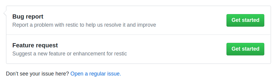 Opening a new Issue on GitHub
